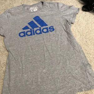 Grey adidas with royal blue logo tshirt